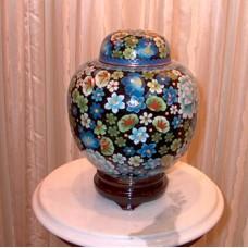 Blue Floral Cloisonne Cremation Urn