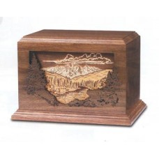 Mountain Scene Walnut Cremation Urn